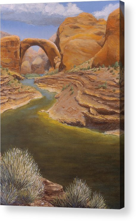 Rainbow Bridge Acrylic Print featuring the painting Rainbow Bridge by Jerry McElroy