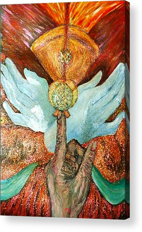 Spiritual Acrylic Print featuring the painting Raise It Golden by Stephen Mead