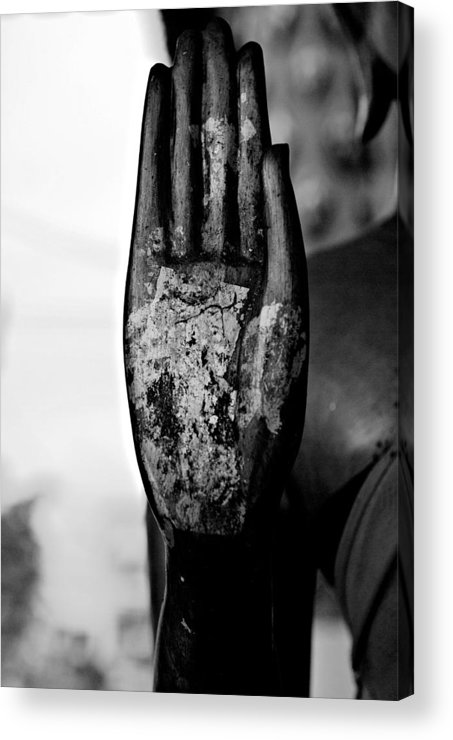 Buddha Acrylic Print featuring the photograph Raised Buddha Hand - Black And White by Dean Harte