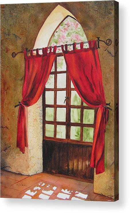 Curtain Acrylic Print featuring the painting Red Curtain by Karen Stark