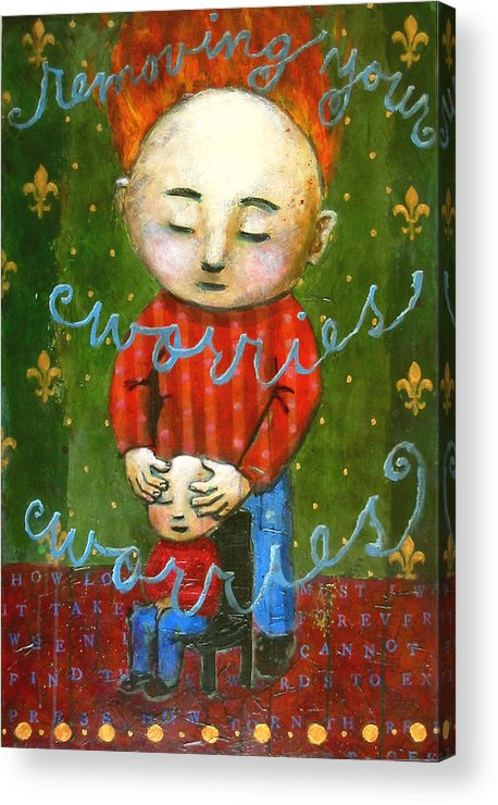 Text Acrylic Print featuring the painting Removing Your Worries by Pauline Lim