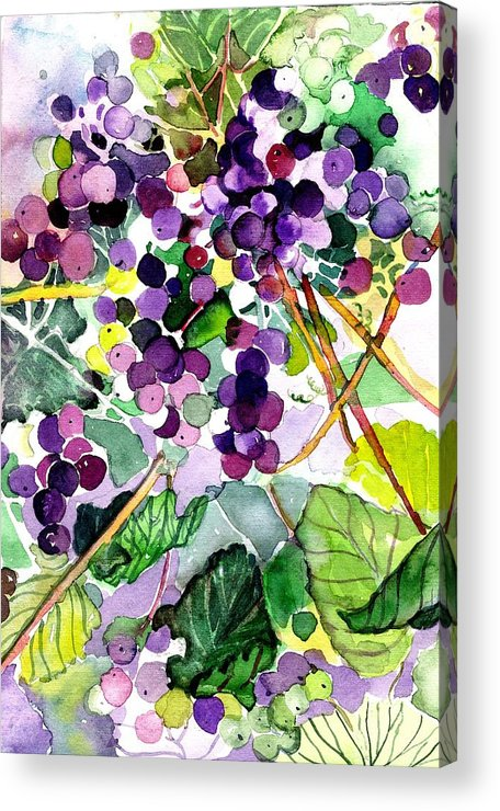 Wine Acrylic Print featuring the painting Roman Grapes by Mindy Newman