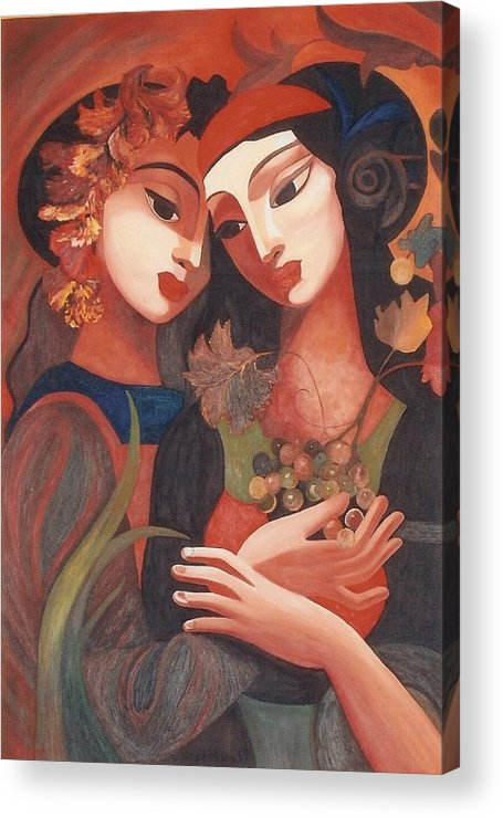 Figurative Acrylic Print featuring the painting Romance by Dorota Nowak