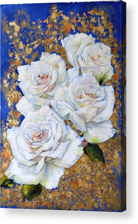 Rose Acrylic Print featuring the painting Roses With Gold Leaf by Diane Ziemski
