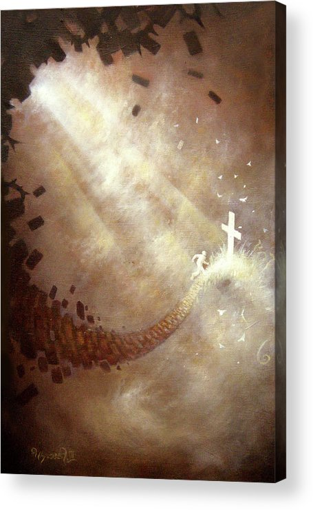 Cross Acrylic Print featuring the painting Running To Freedom by Ulysses Albert III