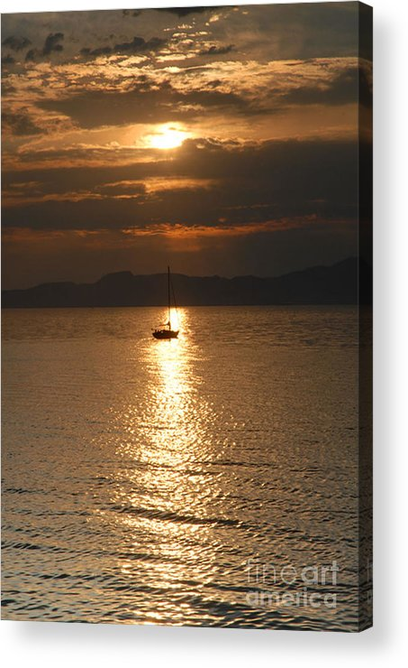 Great Salt Lake Acrylic Print featuring the photograph Sailing The Great Salt Lake At Sunset by Dennis Hammer
