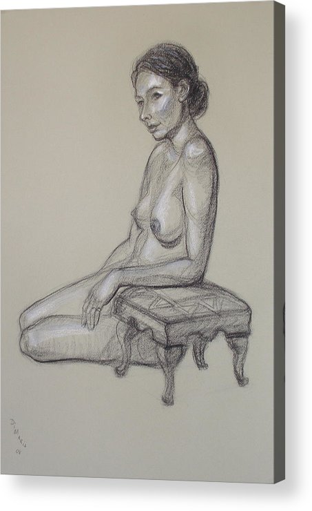 Realism Acrylic Print featuring the drawing Seated Nude 3 by Donelli DiMaria