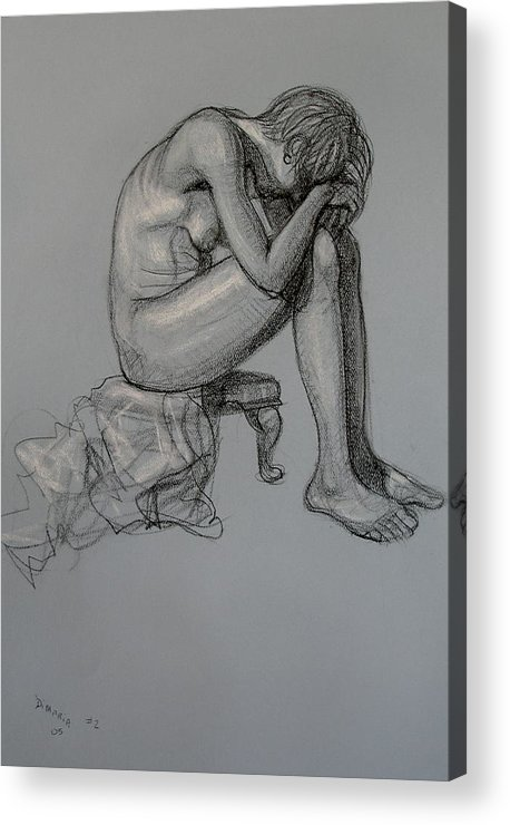 Realism Acrylic Print featuring the drawing Seated Nude by Donelli DiMaria