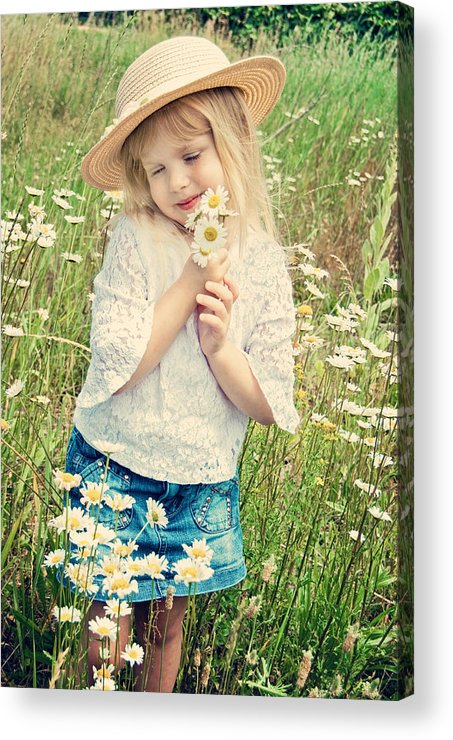 Girl Acrylic Print featuring the photograph Shy Child by Maria Dryfhout