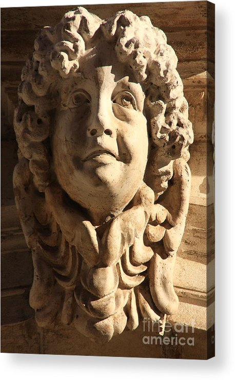 Venice Acrylic Print featuring the photograph Smiling Head Above Door In Venice by Michael Henderson