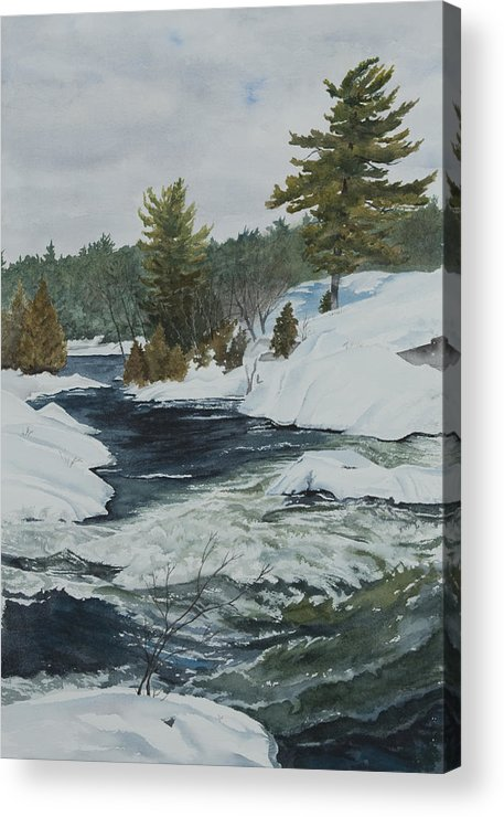 Snow Acrylic Print featuring the painting Snow And Islands by Debbie Homewood