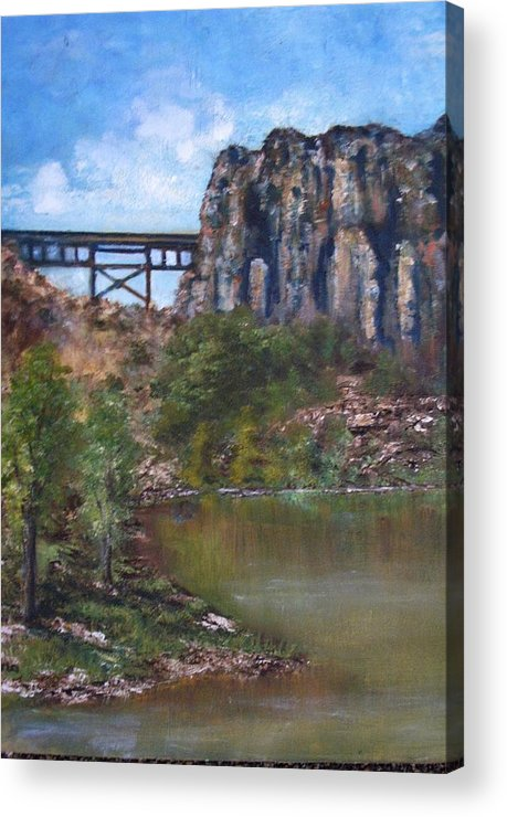 Landscape Acrylic Print featuring the painting S.o.b Caynon by Darla Joy Johnson