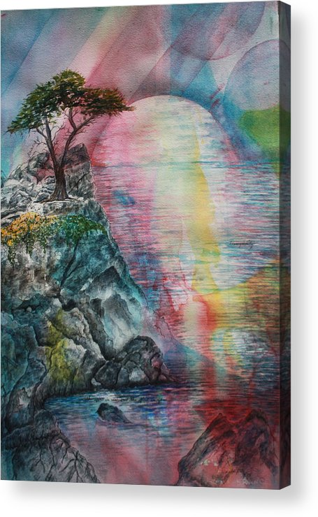 Spiritual Landscape Representing Two Souls Connected Acrylic Print featuring the painting Soulmates by Patsy Sharpe
