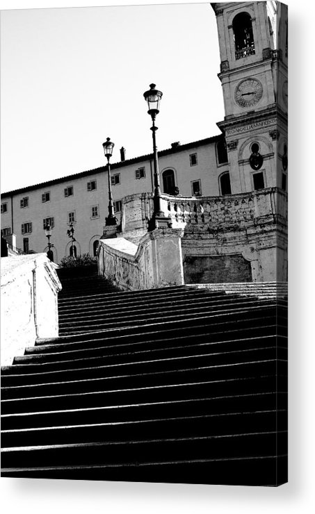 Rome Acrylic Print featuring the photograph Spanish Steps Rome In Black And White by Paul Jarrett