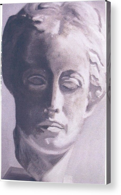 Statue Acrylic Print featuring the painting Statue Young Boy by Deena Greenberg