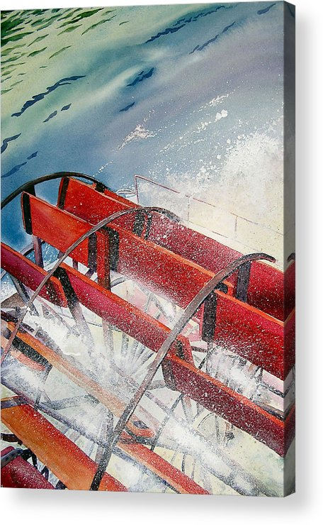Paddlewheeler Acrylic Print featuring the painting Sternwheeler Splash by Karen Stark