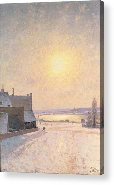 Sun Acrylic Print featuring the painting Sun And Snow by Per Ekstrom