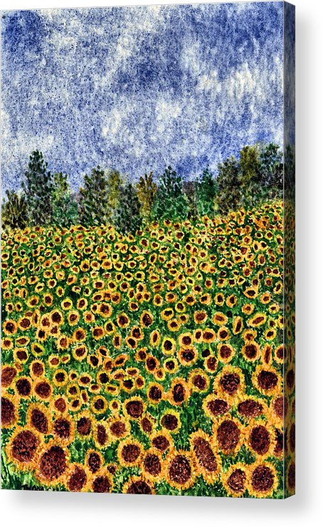 Sunflower Acrylic Print featuring the painting Sunflower Galaxy by Thom Glace
