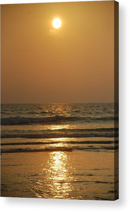 Sunset Acrylic Print featuring the pyrography Sunset In Goa by Reshmi Shankar