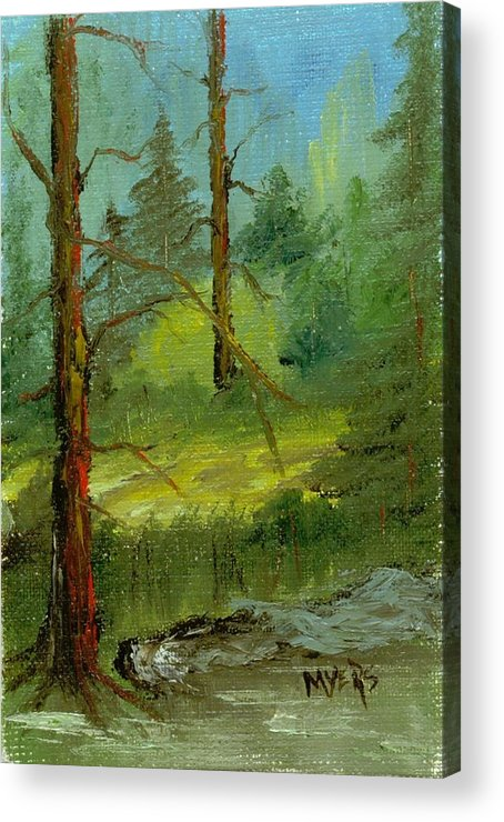 Trees Acrylic Print featuring the painting Sunshine Amidst The Trees By The Stream by Rhonda Myers