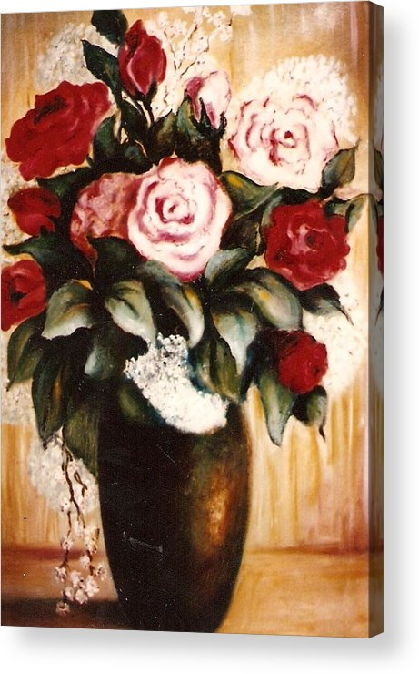 Floral Artwork Acrylic Print featuring the painting Ted's Flowers by Jordana Sands