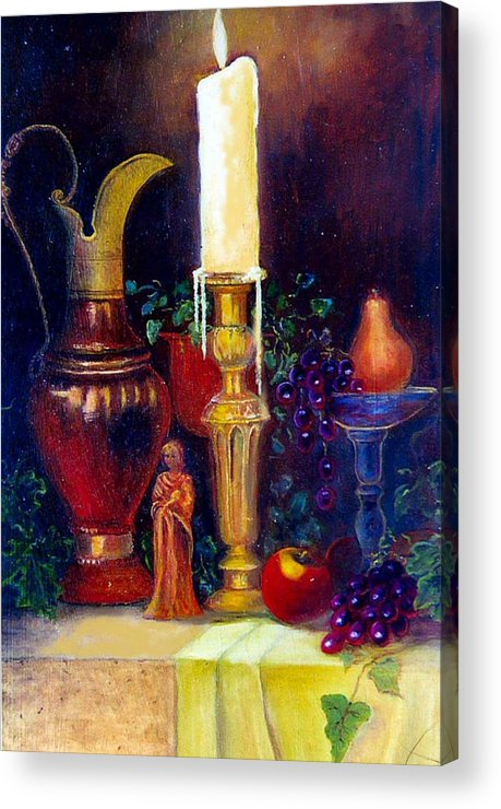 Still Life Acrylic Print featuring the painting The Candlestick And Pitcher by Jeanene Stein