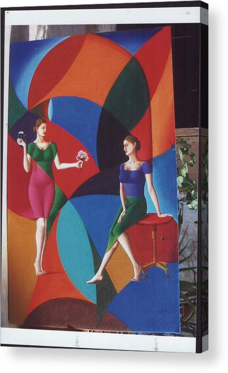 Women Acrylic Print featuring the painting The Dignity Of Love by Mak Art