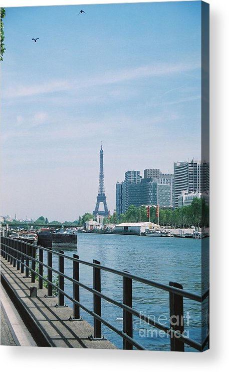 The Eiffel Tower Acrylic Print featuring the photograph The Eiffel Tower And The Seine River by Nadine Rippelmeyer