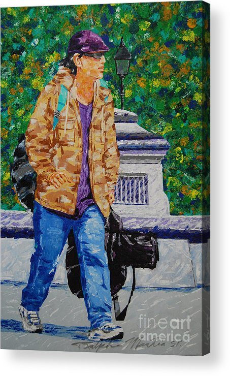 Figurative Acrylic Print featuring the painting The Jazz Man-working by Art Mantia