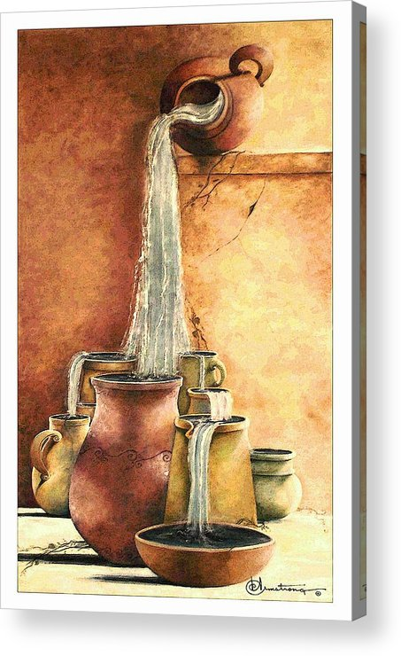 Pottery Acrylic Print featuring the painting The Living Water by Denise Armstrong