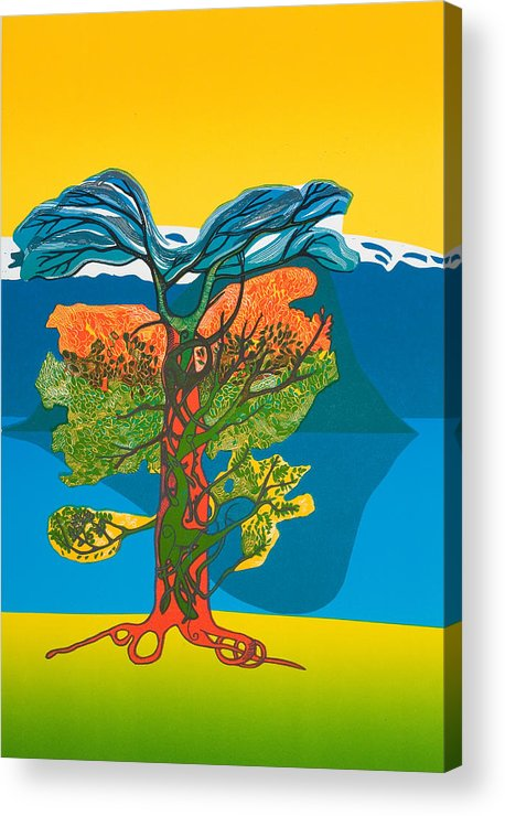 Landscape Acrylic Print featuring the mixed media The Tree Of Life. From The Viking Saga. by Jarle Rosseland