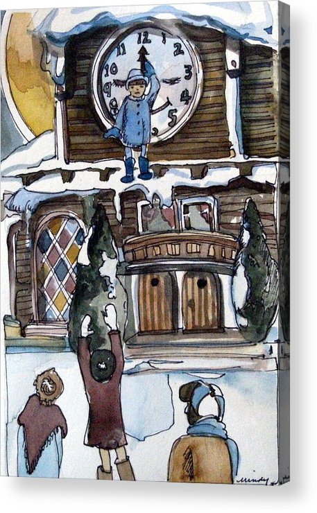 Children Acrylic Print featuring the painting The Village Clock by Mindy Newman