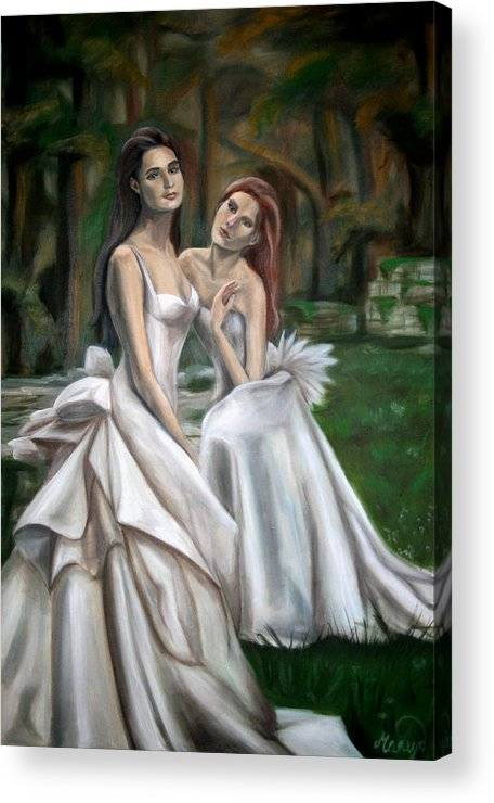 Women Acrylic Print featuring the painting The Watchers by Maryn Crawford