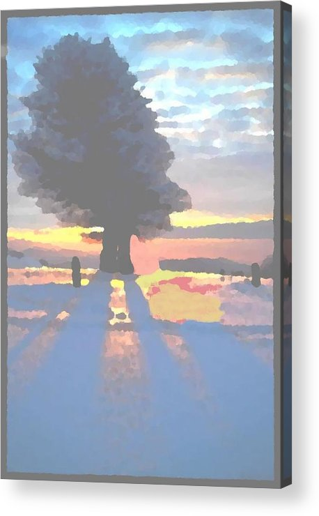 Sky.clouds.winter.sunset.snow.shadow.sunrays.evening Light.tree.far Forest. Acrylic Print featuring the digital art The Winter Lonely Tree by Dr Loifer Vladimir