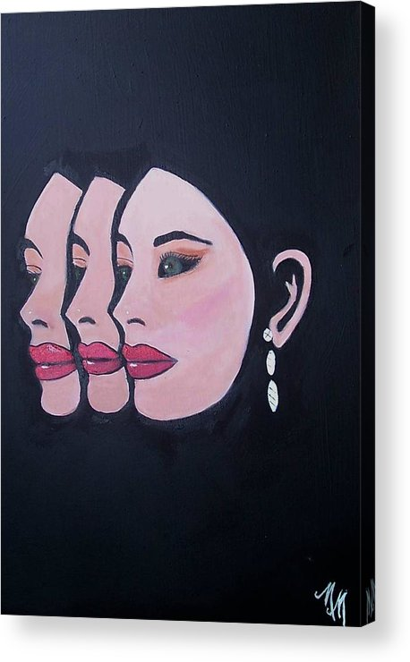 Black Background Acrylic Print featuring the painting Three Of A Kind by Martha Mullins