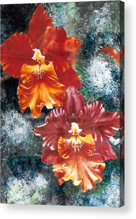 Flowers Acrylic Print featuring the print Tiger Orchids by JoLyn Holladay