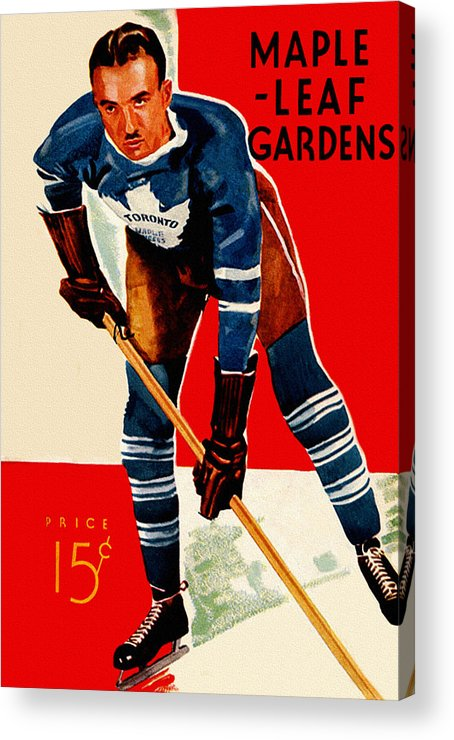 5a26975ff9a Toronto Acrylic Print featuring the painting Toronto Maple Leafs 1920 s Vintage  Program by John Farr