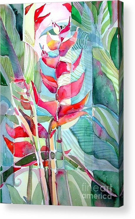 Landscape Acrylic Print featuring the painting Tropicana Red by Mindy Newman