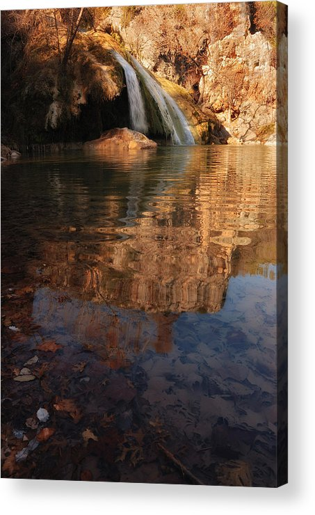 Turner Falls Acrylic Print featuring the photograph Turner Falls Autumn Reflections by Iris Greenwell