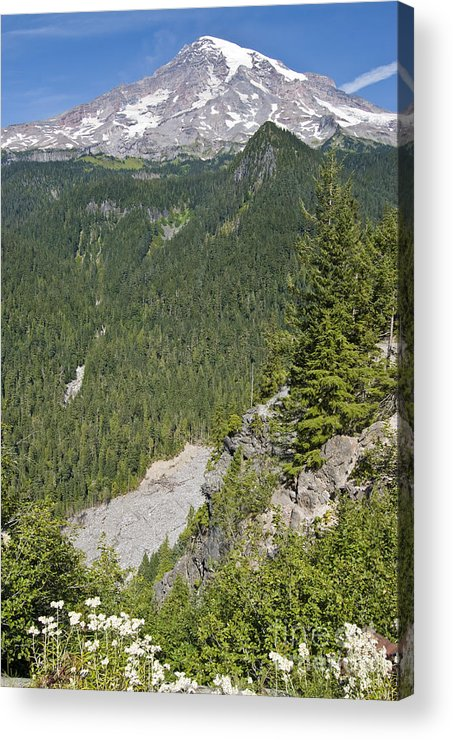 Mt. Rainier Acrylic Print featuring the photograph Valley View Of Mt. Rainier by Larry Keahey