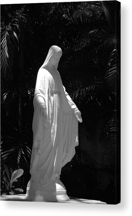 Black And White Acrylic Print featuring the photograph Virgin Mary In Black And White by Rob Hans