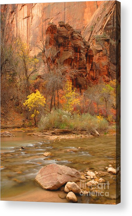 Utah Acrylic Print featuring the photograph Virgin River At The Narrows by Dennis Hammer