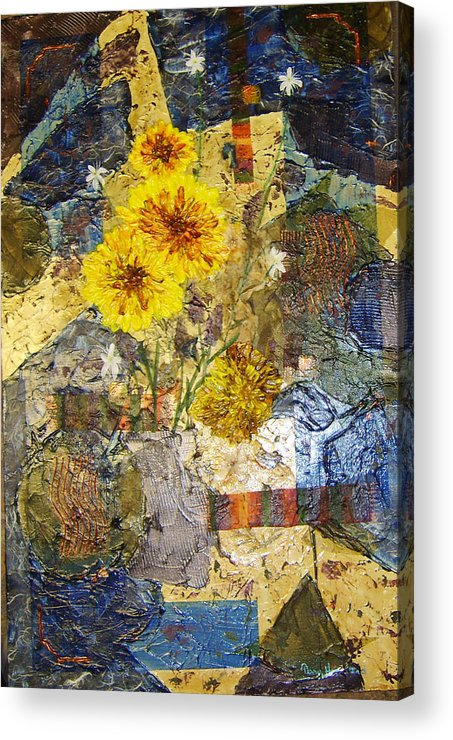Abstract Acrylic Print featuring the painting Winter Flowers by Terry Honstead