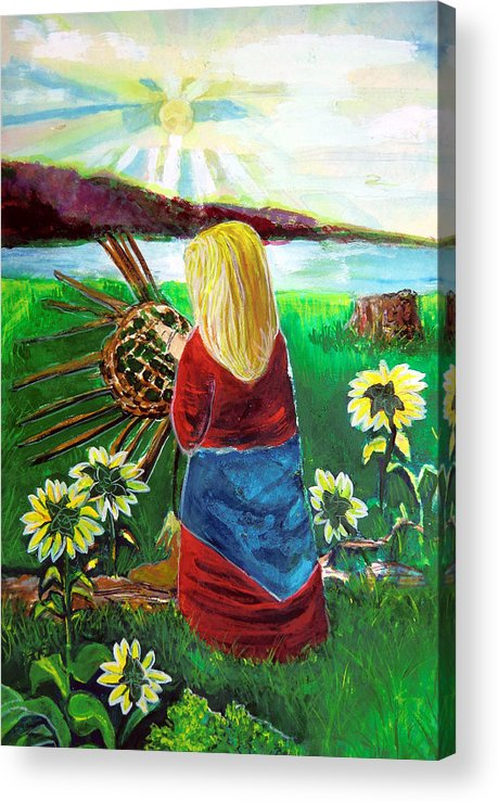 Woman Acrylic Print featuring the painting Woman Weaves A Basket By The Lake At Sunset by Mindy Newman