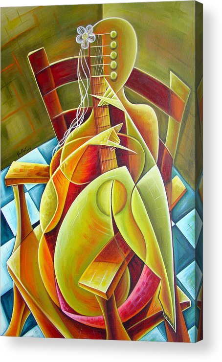 Acrylic Print featuring the painting Woman With Guitar Seated by Javier Martinez