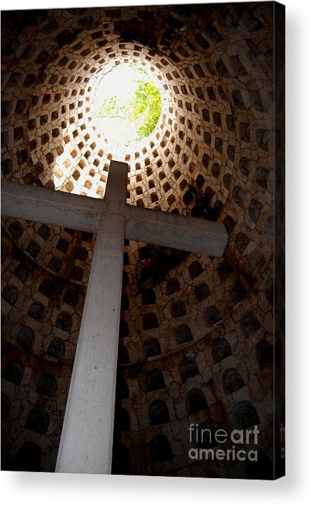 Cross Acrylic Print featuring the photograph Xcaret Cemetery Catacomb by Angela Murray