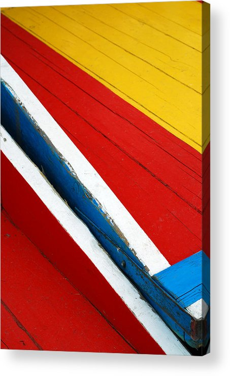 Red Acrylic Print featuring the photograph Xochimilco Boat Abstract 1 by Skip Hunt