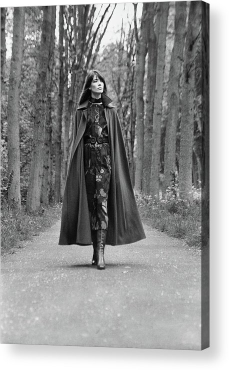 Fashion Acrylic Print featuring the photograph Francoise Hardy Walks The Bois De Boulogne, Paris by Arnaud de Rosnay