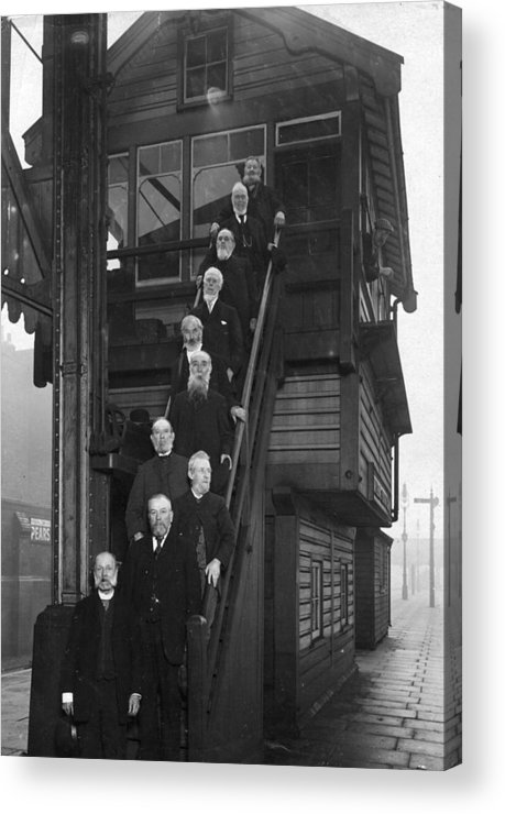 Steps Acrylic Print featuring the photograph Railway Employees by Topical Press Agency