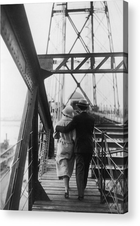 Heterosexual Couple Acrylic Print featuring the photograph Strolling Couple by Fpg